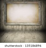 Blank Old Wooden Board On Ston...