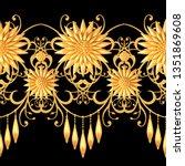 3d rendering. golden stylized... | Shutterstock . vector #1351869608