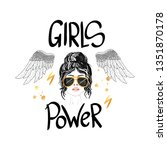 power girls with wings and... | Shutterstock .eps vector #1351870178