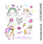 a set of 3 cute unicorns with...   Shutterstock . vector #1351892498