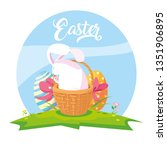 cute rabbit of easter with... | Shutterstock .eps vector #1351906895