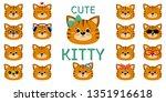 Stock vector cute redhead striped cat mega set of different emotions cartoon style flat design vector 1351916618