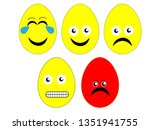 emoji easter egg vector art  | Shutterstock .eps vector #1351941755