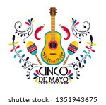 mexican guitar with maracas and ... | Shutterstock .eps vector #1351943675