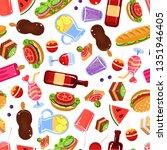 picnic food seamless pattern ... | Shutterstock .eps vector #1351946405