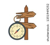 compass guide with guide wooden ...   Shutterstock .eps vector #1351949252