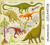dinosaurs of jurassic period...   Shutterstock .eps vector #1351949738