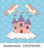 cute fairytale unicorns with... | Shutterstock .eps vector #1351952492