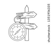 compass guide with guide wooden ...   Shutterstock .eps vector #1351956335
