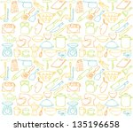 kitchen icons seamless... | Shutterstock .eps vector #135196658