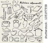 kitchen elements doodle | Shutterstock .eps vector #135197558