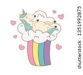 cute fairytale unicorn in... | Shutterstock .eps vector #1351992875
