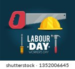 helmet with saw to labour day... | Shutterstock .eps vector #1352006645