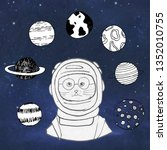 animals cat  in space  in a... | Shutterstock . vector #1352010755