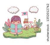 happy little boy reading book...   Shutterstock .eps vector #1352012762