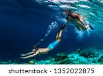 young couple snorkeling and do... | Shutterstock . vector #1352022875