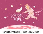 easter bunny in a spacesuit... | Shutterstock . vector #1352029235