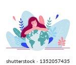 girl sitting and hugging planet ... | Shutterstock .eps vector #1352057435
