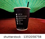 cappuccino coffee in a glass of ... | Shutterstock . vector #1352058758