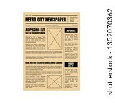 vintage daily newspaper... | Shutterstock .eps vector #1352070362
