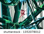 wild man jumping in jungles... | Shutterstock .eps vector #1352078012