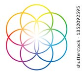 rainbow colored seed of life.... | Shutterstock .eps vector #1352092595