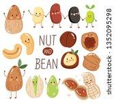 set illustration happy cute nut ... | Shutterstock .eps vector #1352095298