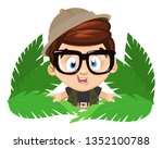 spectacled little boy scout in... | Shutterstock .eps vector #1352100788
