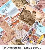 hand written letters  vintage... | Shutterstock . vector #1352114972