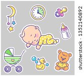 vector collection of baby icons ... | Shutterstock .eps vector #1352140892