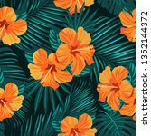 tropical flowers and palm... | Shutterstock .eps vector #1352144372