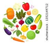 colorful cartoon vegetables... | Shutterstock .eps vector #1352149712