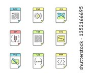 files format color icons set.... | Shutterstock .eps vector #1352166695