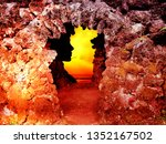 cave with silhouettes at sunset ... | Shutterstock . vector #1352167502