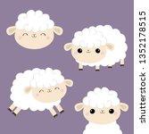 Sheep Lamb Face Head Icon Set....