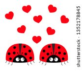 two red lady bug ladybird icon... | Shutterstock .eps vector #1352178845
