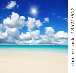 beautiful beach and tropical sea | Shutterstock . vector #135217952