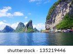 rocks and sea in krabi thsiland | Shutterstock . vector #135219446
