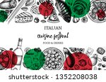 hand drawn pizza and pasta... | Shutterstock .eps vector #1352208038