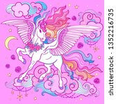 a beautiful unicorn with a long ... | Shutterstock .eps vector #1352216735