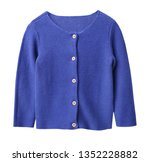 Blue Knitted Buttoned Long...