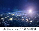 night view of planet earth from ... | Shutterstock . vector #1352247338