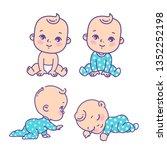 cute little boy icon set....   Shutterstock .eps vector #1352252198