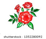 beautiful roses bouquet flowers ... | Shutterstock . vector #1352280092