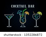 neon cocktail bar singboard... | Shutterstock .eps vector #1352286872