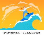 businessman riding wave... | Shutterstock .eps vector #1352288405
