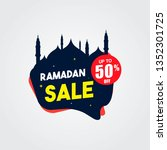 ramadan sale with mosque and... | Shutterstock .eps vector #1352301725