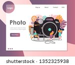 photo vector website template ... | Shutterstock .eps vector #1352325938