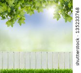 White Fence And Green Grass