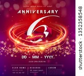 6 years anniversary logo... | Shutterstock .eps vector #1352358548